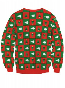 3D Christmas Tree Printed Faked Two Piece Christmas Sweatshirt