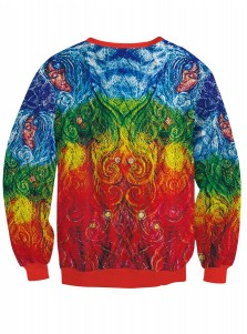 Multi Color 3D Printed Crew Neck Textured Christmas Sweatshirt
