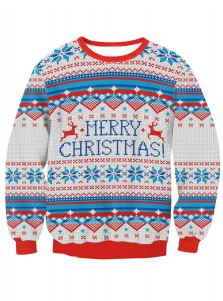 Crew Neck Long Sleeve Printed Textured Christmas Pullover Sweatshirt