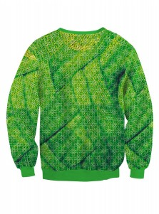 Green Crew Neck Long Sleeve Printed Textured Christmas Sweatshirt