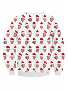 White Polyester Crew Neck Long Sleeve Christmas Pullover Sweatshirt