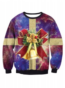 3D Printed Crew Neck Long Sleeve Christmas Pullover Sweatshirt