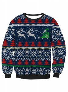 Dark Blue Printed Long Sleeve Textured Christmas Sweatshirt