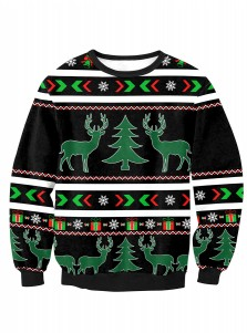 Black Reindeer Printed Long Sleeve Christmas Pullover Sweatshirt