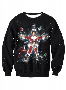 3D Printed Black Crew Neck Long Sleeve Christmas Sweatshirt