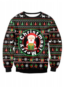 Letter Santa Claus Printed Crew Neck Long Sleeve Sweatshirt