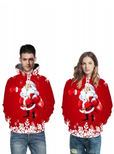 3D Printed Long Sleeves Red Couple Christmas Hooded Sweatshirts