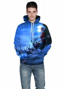 Blue Satan Claus Couple Christmas Hooded Sweatshirts