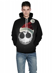 Black Kangaroo Pockets Hooded Couple Christmas Sweatshirts