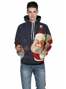 3D Printed Santa Long Sleeves Hooded Couple Christmas Sweatshirts