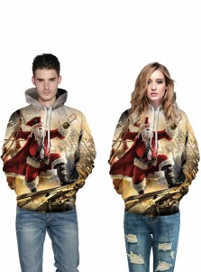 3D Printed Multi Color Hooded Couple Christmas Sweatshirts