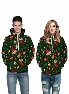 Dark Green Jingling Bells Hooded Couple Christmas Sweatshirts