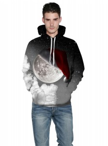 Black Space Kangaroo Pockets Hooded Couple Christmas Sweatshirts