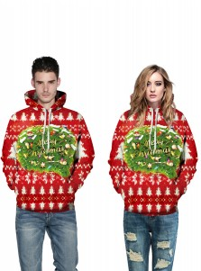 Letter Printed Drawstring Red Couple Christmas Sweatshirts