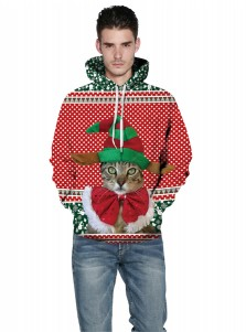3D Printed Cat Red Hooded Couple Christmas Sweatshirts