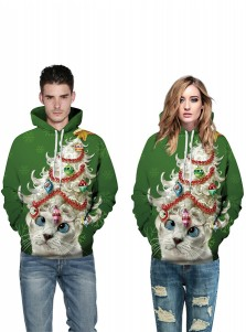 Green 3D Printed Cat Hooded Couple Christmas Sweatshirts