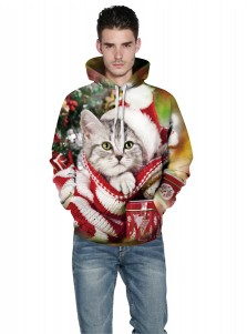 Multi Color 3D Printed Cat Hooded Couple Christmas Sweatshirts