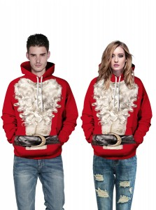 Red 3D Printed Santa Hooded Couple Christmas Sweatshirts