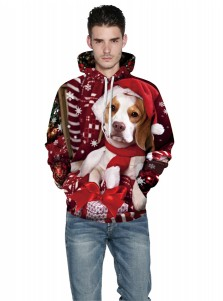Dark Red 3D Printed Pug Hooded Couple Christmas Sweatshirts
