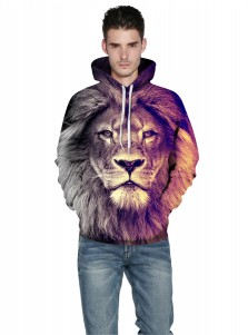3D Printed Lion Drawstring Hooded Couple Christmas Sweatshirts
