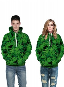Green 3D Printed Leaves Hooded Couple Christmas Sweatshirts