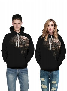 Black 3D Printed Kangaroo Pockets Couple Christmas Sweatshirts