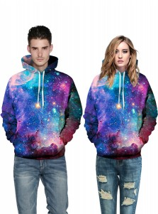 Multi Color 3D Printed Hooded Couple Christmas Sweatshirts