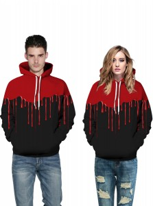 Black 3D Printed Red Blood Couple Christmas Sweatshirts
