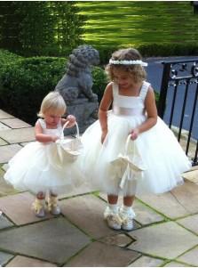 Modern Ball Gown Square Neck Sash Tulle Flower Girl Dress