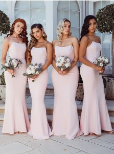 Mermaid Strapless Sleeveless Long Bridesmaid Dress With Zipper-up