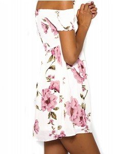 Off-the-Shoulder Short Sleeves Above-Knee White Floral Printed Dress