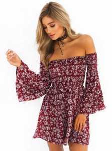 Off-the-Shoulder Flare Sleeves Short Burgundy Tiny Floral Printed Dress