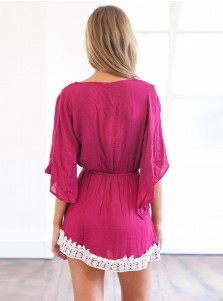 V-Neck Half Sleeves Short Fuchsia Sundress Dress with Lace