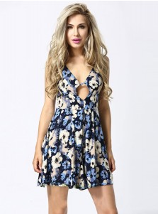V-Neck Sleeveless Open Back Short Royal Blue Floral Printed Dress