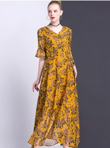 V-Neck Flare Sleeves Long Yellow Boho Style Floral Printed Dress