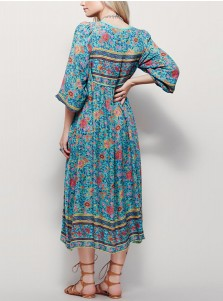 Deep V-Neck Long Sleeves Long Turquoise Boho Floral Printed Dress