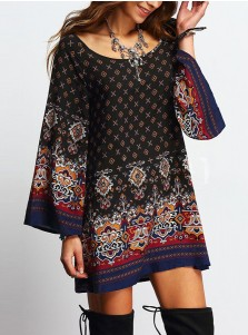 Round Neck Long Sleeves Short Navy Blue Tunic Retro Printed Dress