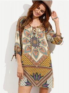 Scoop Neck Half Sleeves Short Khaki Tunic Retro Printed Dress