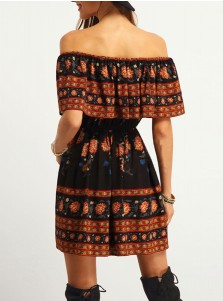 Off-the-Shoulder Smocked Retro Black Floral Printed Dress