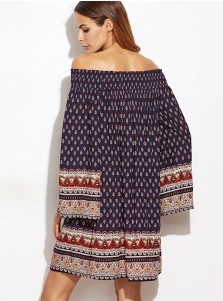 Off-the-Shoulder Long Sleeves Short Navy Blue Retro Printed Dress