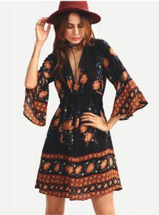 Deep V-Neck Long Sleeves Short Black Floral Printed Dress