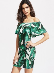 Off-the-Shoulder Cap Sleeves Short Green Leave Printed Dress
