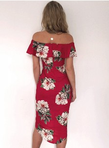 Off-the-Shoulder Asymmetrical Red Cotton Floral Printed Dress