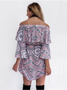 Off-the-Shoulder Flare Sleeves Short Tunic Geomrtery Printed Dress