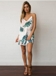 Spaghetti Straps Sleeveless White Short Tunic Feature Printed Dress