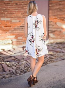 V-Neck Sleeveless Short White Tunic Floral Printed Dress