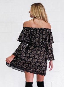 Off-the-Shoulder Flare Sleeves Lace Short Black Printed Dress
