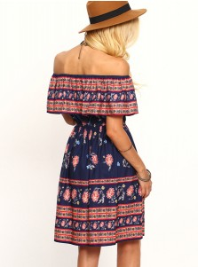 Off-the-Shoulder Cap Sleeves Short Navy Blue Floral Printed Dress