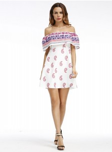 Off-the-Shoulder Cap Sleeves Short White Floral Printed Dress