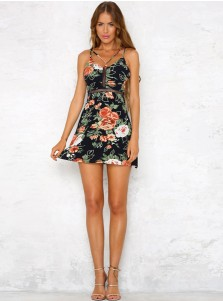 Spaghetti Straps Sleeveless Hollow Waist Short Floral Printed Dress